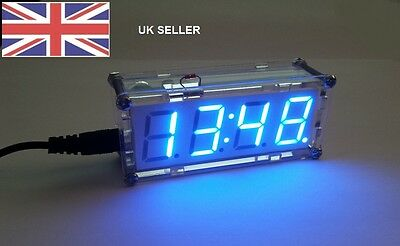 ELECTRONICS KIT,DIY DIGITAL CLOCK KIT WITH CASE AND USB POWER LEAD,BLUE DISPLAY