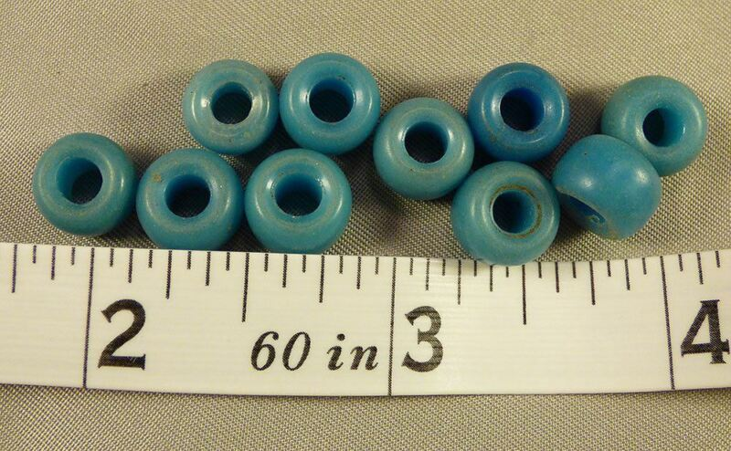 (10) Crow Indian Sky Blue Padre Glass Trade Beads 150+ Years Old