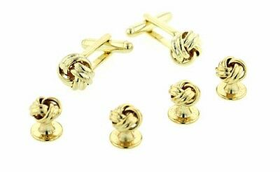 (Classic Gold Plated Knot Tuxedo Cufflinks and Studs)
