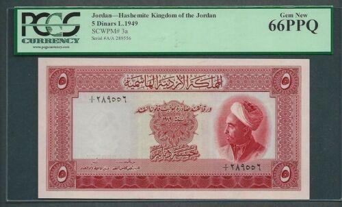 Jordan 1949 - 5 Dinar P#3a Gem New UNC 66 PPQ
