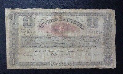 Colombia Banknote 1 Peso  Pick S831b  F  1900   Banco De Santander