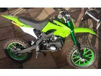 AS NEW KIDS FOR 5 TO 10 YEAR OLD 2 STROKE PETROL 50cc OFF ROAD MOTOCROSS TRAILS
