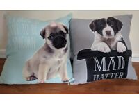 Two adorable puppy cushions. 1 x spaniel and 1 x pug. Great Condition and perfect for any dog lover