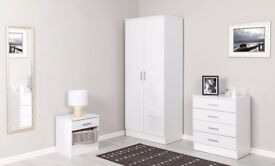 White High Gloss Bedroom Furniture 3 Piece Trio Set Wardrobe 4 drawer Chest & Bedside Table