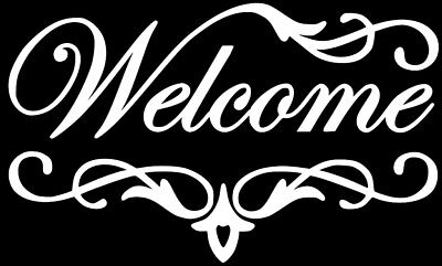 (Welcome Front Door Entryway Sign Decal Sticker Home / Wall Lettering 5