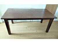 DINING TABLE (SEATS 8) SOLID STAINED WOOD. LOVELY, VIRTUALLY UNMARKED CONDITION. L180cm x W90 x H78