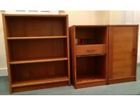 Early 1980s vintage Scandinavian teak-veneer matching bookcase and 2 cupboards