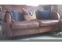 Vintage Deco Style Odeon Two-seater Tan Leather Sofa