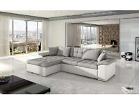 BRAND NEW AVELLINO LEATHER&FABRIC CORNER SOFABED WITH STORAGE IN BLACK/GREY OR WHITE/GREY (FREE DEL)