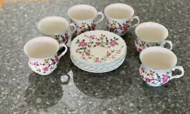 "James Kent old foley ""Chinese rose"" cups & saucers x6"