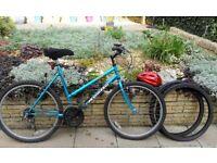 Womens Apollo Bike ,Cycling helmet,spare tyres ,pump ,basket and bike lock