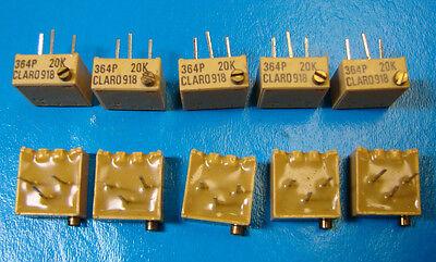 Clarostat 364p-20k 38 Square Multi Turn 20k Ohm Cermet Trimming Pot 10pcs