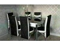 DIRECT FACTORY SALES EXTENDABLE GLASS DINING TABLE SETS WITH FAUX LEATHER CHAIR OPTIONS