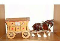 Vintage Ornamental Romany Caravan & Horse