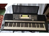 Yamaha PSR 640 Portatone Keyboard complete with soft case, stand, 2 pedals, assorted music