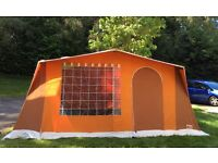 5-6 berth Jamet 1970s retro frame tent complete with curtains, ceiling lining and bedroom.