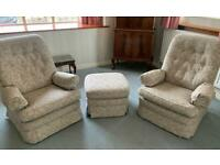 Three piece suite - sofa and 2 chairs plus tuffet
