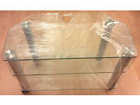 JOHN LEWIS TV Stand Tempered Glass 3 Tier With Wheels £25 MUST GO! PRICE LOWERED! 80 x 40 x 55.5 CM