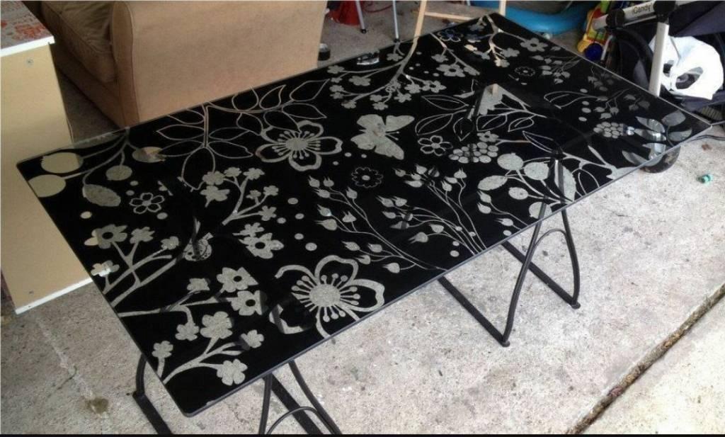 Ikea Erfly Pattern Glass Desk Top And Legs
