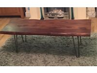 Beautiful solid wood coffee table with hairpin legs