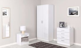 BRAND New High Gloss White Bedroom set Wardrobe 4 Drawer Chest Of Drawers Bedside Table