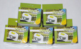 5 x SHINING BUDDY LATEST HALO FACED LED HEAD LAMPs RED & WHITE LIGHT WHITE GREEN