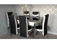 HUGE DISCOUNTS ON EXTENDABLE GLASS DINING TABLE SETS WITH FAUX LEATHER CHAIR OPTIONS