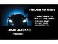 freelance MOT tester. 12 years garage exp. 8 years MOT testing exp. competetive rates