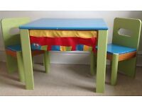 ELC wooden table and 2 chairs