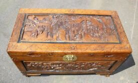 Camphor Wood Chest - Carved Oriental