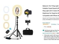 10.2'' Ring Light with 50'' Height Foldable Tripod Stand For iPhones/