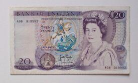 Twenty Pound £20 Note J.B. Page A08