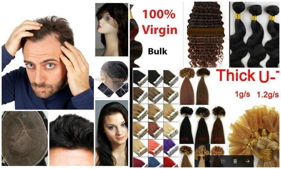 Fusion Tape Ins Weave Hair Extension Lace Wigs Men Toupee