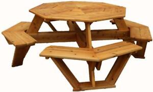 Weather Resistant Cedar Octagon Picnic Tables For Restaurant,coffee shop, Resort, Lodge, Lawn, etc - Ship Across Canada