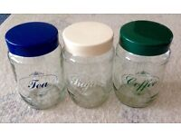 3 Mid Century Retro Glass Storage Tea, Coffee, Sugar Storage Jars - Screw Tops