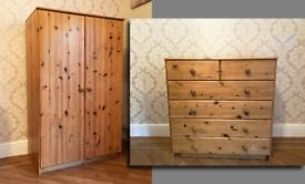 Children's pine furniture wardrobe and chest of drawers set