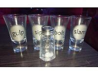 Four large shot glasses & salt shaker
