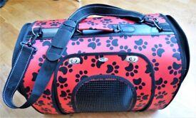 Small portable hard fabric pet bag carrier