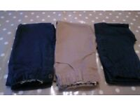 Three pairs of 5-6 year chino style trousers from Mark's and Spencer's with adjustable waist