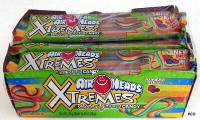 Airheads Xtremes Rainbow Berry Belts 18 Ct Airhead Extreme Air Head Bulk Candy - Airhead Extreme