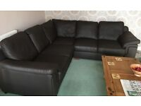 Amore Brown Leather Corner Suite & two seater settee