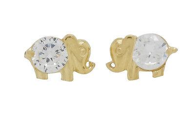 10K Solid Yellow Gold CZ Elephant Earrings [3 -