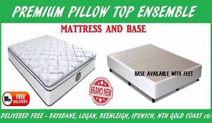BRAND NEW Queen Bed Ensemble PREMIUM Pillow Top Mattress + Base New Farm Brisbane North East Preview
