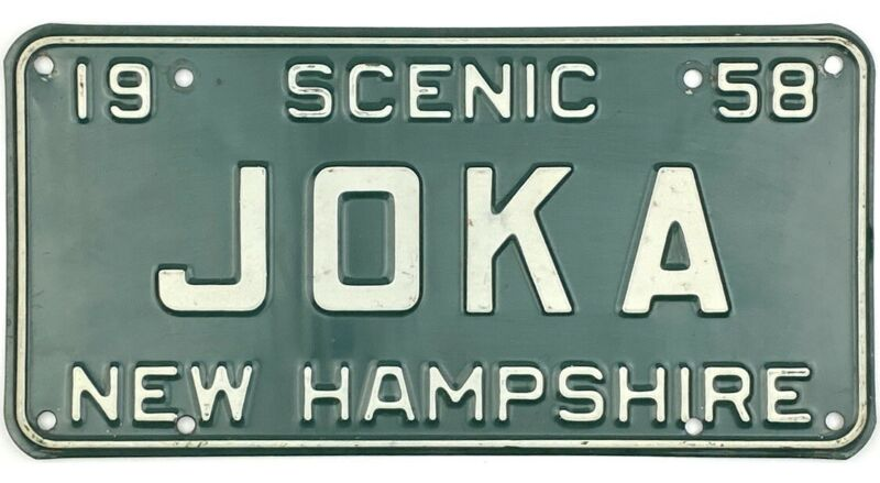 1958 New Hampshire Vanity License Plate #JOKA Joker Batman