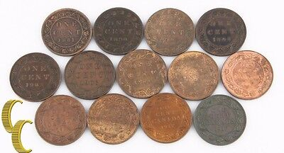 Click now to see the BUY IT NOW Price! 1881 1917 CANADA 1 CENT LOT F BU 13 COINS LARGE PENNY ONE 1C KM 7 8 21