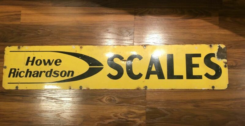 Vintage 45 x 9 Howe Richardson Scales Porcelain Sign