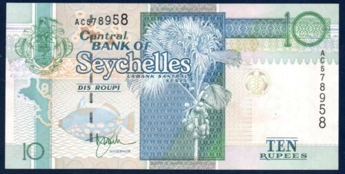 Seychelles UNC Note 10 Rupees ND 1998 P-36