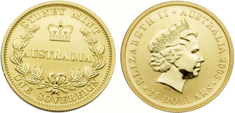 AUSTRALIA 2005 150TH ANNIVERSARY PERTH MINT GOLD SOVEREIGN COIN