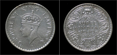 India King George VI 1/4 rupee 1940