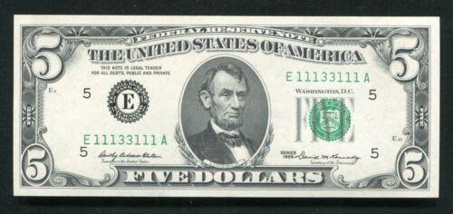 1969 $5 FRN FEDERAL RESERVE NOTE SUPER BINARY RADAR S/N E11133111A GEM UNC